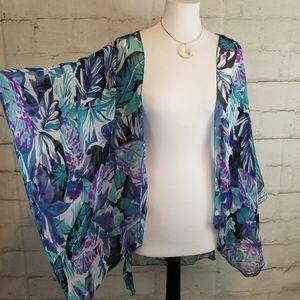 S/M Blue Purple Semi-Sheer Open Kimono Coverup